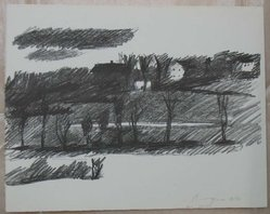Paul Georges (American, born 1923). Landscape. Lithograph on white, Arches paper, Sheet: 10 x 12 5/8 in. (25.4 x 32.1 cm). Brooklyn Museum, Anonymous gift, 80.209.30. © artist or artist's estate