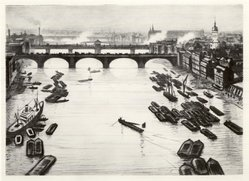 Christopher Richard Wynne Nevinson (British, 1889-1946). The Pool of London, 1919. Drypoint on wove paper, 9 13/16 x 13 13/16 in. (25 x 35.1 cm). Brooklyn Museum, Designated Purchase Fund, 81.255.1. © artist or artist's estate