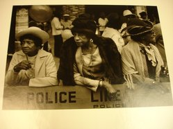 Dawoud Bey (American, born 1953). Three Women at the Parade, from Harlem, U.S.A. Series, 1977-1978. Gelatin silver photograph, image: 6 x 8 5/8 in. (15.2 x 21.9 cm). Brooklyn Museum, Gift of the artist, 82.137.3. © artist or artist's estate