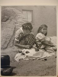 Grete Mannheim (American, born Germany, 1909-1986). Two Hopi Indian Girls Selling Pottery, San Idelfonso Pueblo, NM, 1952. Gelatin silver photograph, Comp: 24 x 19 cm / 9 1/2 x 7 1/2 in. Brooklyn Museum, Gift of the artist, 84.232.4. © artist or artist's estate