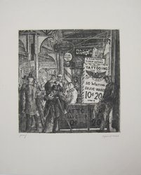 Reginald Marsh (American, 1898-1954). Tattoo-Shave-Haircut, 1932. Etching and engraving on white wove paper, Image: 9 13/16 x 9 5/8 in. (24.9 x 24.5 cm). Brooklyn Museum, Gift of Mr. and Mrs. Peter P. Pessutti, 86.215. © artist or artist's estate