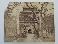 Frith. Tomb of the First Ming Emperor, late 19th-early 20th century. Albumen silver photograph, 6 3/8 x 8 in. (16.2 x 20.3 cm). Brooklyn Museum, Gift of Matthew Dontzin, 86.256.30