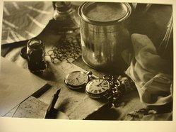 W. Eugene Smith (American, 1918-1978). [Untitled] (Pen and Ink, Pocket Watches, and Paper on Desk), 1954. Gelatin silver photograph, Sheet: 9 1/8 x 13 5/16 in. (23.2 x 33.9 cm). Brooklyn Museum, Gift of Philip Goutell, 87.245.64. © W. Eugene Smith