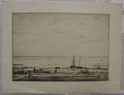 Robert Nisbet (American, 1879-1961). Low Tide. Drypoint on paper, sheet: 12 x 15 5/8 in. (30.5 x 39.7 cm). Brooklyn Museum, Gift of Dr. Clark S. Marlor, 88.6.8. © artist or artist's estate