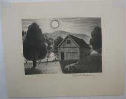 Ernest Fiene (American, 1894-1965). Untitled, Barn with Bull and Landscape, n.d. Lithograph, Sheet: 6 1/4 x 7 13/16 in. (15.9 x 19.8 cm). Brooklyn Museum, Brooklyn Museum Collection, X1042.12. © artist or artist's estate