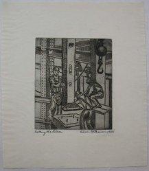 Edwin F. Beemer (American, 1883-1965). Setting the Pillar, 1929. Engraving, Sheet: 11 x 9 1/2 in. (27.9 x 24.1 cm). Brooklyn Museum, Brooklyn Museum Collection, X1042.146. © artist or artist's estate