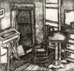 Pamela Ruby Bianco (American, born England, 1906-1994). Untitled, Interior Scene with Chair, Desk, Clock and Window, n.d. Lithograph, Overall: 14 1/2 x 14 1/2in. (36.8 x 36.8cm). Brooklyn Museum, Brooklyn Museum Collection, X1042.2. © artist or artist's estate