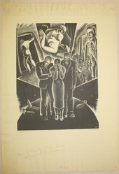 Dan Rico (American, 1910-1985). Strange Funeral, 1930s. Wood engraving, Sheet: 16 5/8 x 9 1/4 in. (42.2 x 23.5 cm). Brooklyn Museum, Brooklyn Museum Collection, X1042.50. © artist or artist's estate