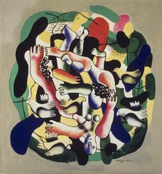 Fernand Léger (French, 1881-1955). Les Plongeurs Polychromes, 1941-1942. Oil on canvas, 33 x 30 3/4 in. (83.8 x 78.1 cm). Brooklyn Museum, Gift of The Beatrice and Samuel A. Seaver Foundation, 2004.30.11. © artist or artist's estate