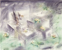 Roberto Matta (Chilean, 1911-2002). Composition, late 1950s. Oil on canvas, 45 1/4 x 56 inches. Brooklyn Museum, Gift of The Beatrice and Samuel A. Seaver Foundation, 2004.30.13. © artist or artist's estate