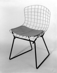 Harry Bertoia (American, born Italy, 1915-1978). Child's Side Chair, Model 426-2, Designed 1950-52; Manufactured 1953. Rubber-coated metal, metal, vinyl, (a) Chair:  20 x 13 x 12 1/2 in. (50.8 x 33 x 31.8 cm). Brooklyn Museum, Lent by Mr. and Mrs. Jack Buchanek, L84.8a-b. © artist or artist's estate