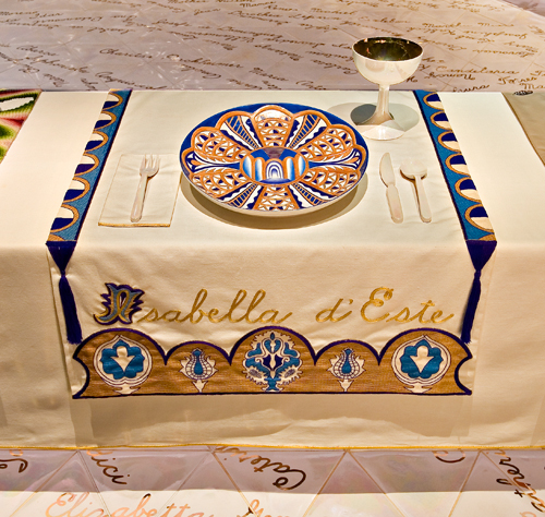 <p>Judy Chicago (American, b. 1939). <i>The Dinner Party</i> (Isabella d'Este place setting), 1974–79. Mixed media: ceramic, porcelain, textile. Brooklyn Museum, Gift of the Elizabeth A. Sackler Foundation, 2002.10. © Judy Chicago. Photograph by Jook Leung Photography</p>
