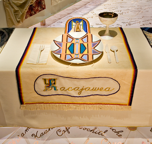 <p>Judy Chicago (American, b. 1939). <i>The Dinner Party</i> (Sacajawea place setting), 1974–79. Mixed media: ceramic, porcelain, textile. Brooklyn Museum, Gift of the Elizabeth A. Sackler Foundation, 2002.10. © Judy Chicago. Photograph by Jook Leung Photography</p>