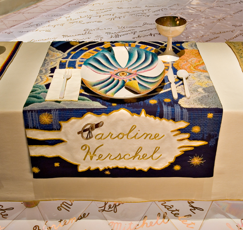 <p>Judy Chicago (American, b. 1939). <i>The Dinner Party</i> (Caroline Herschel place setting), 1974–79. Mixed media: ceramic, porcelain, textile. Brooklyn Museum, Gift of the Elizabeth A. Sackler Foundation, 2002.10. © Judy Chicago. Photograph by Jook Leung Photography</p>