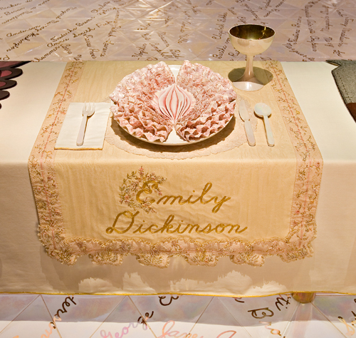 <p>Judy Chicago (American, b. 1939). <i>The Dinner Party</i> (Emily Dickinson place setting), 1974–79. Mixed media: ceramic, porcelain, textile. Brooklyn Museum, Gift of the Elizabeth A. Sackler Foundation, 2002.10. © Judy Chicago. Photograph by Jook Leung Photography</p>
